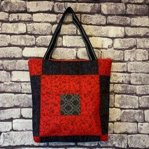 Handmade Quilted Large Red & Black Tote Bag